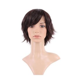 China 100% Real Natural Silky Straight Dark brown Party BOB Hair Wig Synthetic Wigs with Bangs Full Head supplier real hair bangs suppliers