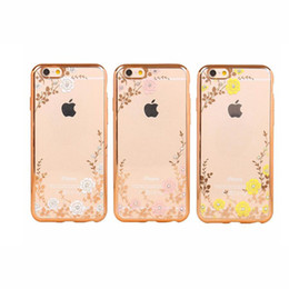 $enCountryForm.capitalKeyWord UK - Secret Garden With Flowers Rhinestone Phone Cases Rose Gold Plating TPU Back Case Cover For iPhone X 8 6 6S Plus 5SE