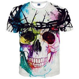 hooded tee shirts women 2019 - Wholesale- High quality 2016 Newest Fashion Harajuku Men Women T-shirt 3d Print The skull ip Hop Brand T Shirt Summer To