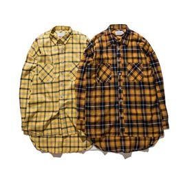 $enCountryForm.capitalKeyWord NZ - Flannel Plaid Shirt Men Hip-hop Shirt 2017Streetwear Oversized Curved Hem Hipster Men's Shirt Long Sleeve Justin Bieber Clothing