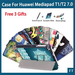 huawei mediapad slim case Canada - Wholesale- Case for Huawei Mediapad T2 7.0 Tablet PC Ultra Slim Stand Leather Case For Huawei MediaPad T1 7.0 + free 3 gifts