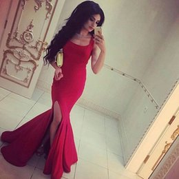 Barato Vestidos De Noiva Simples E Sexy-2017 Prom Dressess Sexy Mermaid Scoop Neck mangas simples Evening Party Vestidos com Slit Custom Made