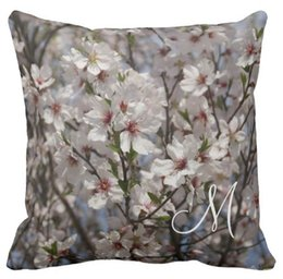 High quality wholesale factory direct custom monogrammed flowering Cherry  double-sided throw pillow 16 inch 18inch 20inch