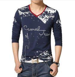 Mens Long V Neck T Shirts Canada - 2016 New Mens Long Sleeved T-Shirts Graffiti V-neck Fashion Casual Slim Fit TShirt Plus Size:S~5XL 4 Colors T212