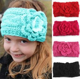 Europe Kid Pas Cher-Hot Automne Hiver Europe Baby Flower Knitted Headbands Filles Bandes de Cheveux Childrens Chaud Crochet Accessoires cheveux Lovely Kids Headwrap 9 Couleur