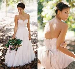 country lace blush tulle wedding dresses 2017 bridal gowns sweetheart lace appliques bodice low back sexy wedding gowns a line