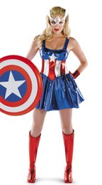Wholesale captain america woman costume online – design Women s Sexy Captain America Super Heroes Bodysuits Cosplay Halloween Adult Female The Avengers Zentai Teddies Dresses Performance Costumes