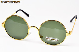 $enCountryForm.capitalKeyWord Canada - Wholesale- = NOMANOV BRAND = classical Round Retro polarized men women sunglasses High Quality Alloy Gold Frame green lenses sun glasses