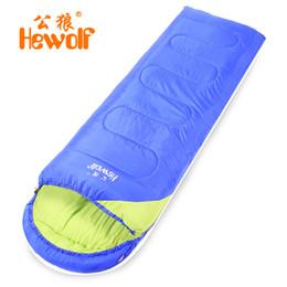 Wholesale Hewolf Ultralight Autumn Winter Warming Splicing Single Sleeping Bag Cotton Filler Hooded Envelope Camping Hiking Pad