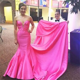 Barato Vestido De Baile De Formatura Taffeta Mermaid Barato-Off The Shoulder Cheap Long Evening Dress 2017 Vestidos Largos De Noche Pink Pink Taffeta Mermaid Prom Dresses Vestidos