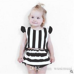 Baby Girl Summer Suits Australia - summer baby girls black and white stripes tops shorts two-piece suit kids Children's cotton clothing sets baby Girl's blouse