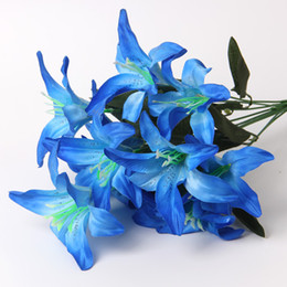 Silk Perfume Canada - 8 Colors Perfume Lily 10 heads Raw Silk Flower & Plastic cement Leaves Artificial Flowers For Wedding,Home,Party