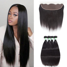 Unprocessed Wholesale Human Hair Australia - Brazilian Straight Virgin Human Hair 4x13 Ear to Ear Lace Frontal With Bundles Unprocessed Brazilian Straight Hair With Frontal Closure