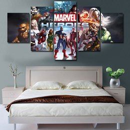 Marvel Canvas Prints NZ - 5 Pieces Marvel Heroes Poster Printed Picture No frame Home decor Wall Art Canvas Painting For Bedroom
