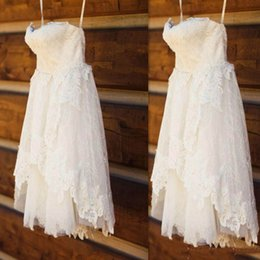 $enCountryForm.capitalKeyWord Canada - Real Image High Low Beach Lace Wedding Dresses 2019 Short A-Line Tiered Skirts Spaghetti Simple Gowns For Bridal Bridesmaid Party Dress