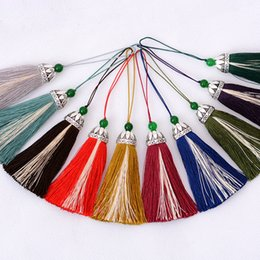 Cell Phone Jewelry Charms Canada - High Quality Dual Colors Silk Satin Tassels with Bowlder Women Earrings Necklace Handbag Cell Phone Keychain Tassel Charm Jewelry Pendants