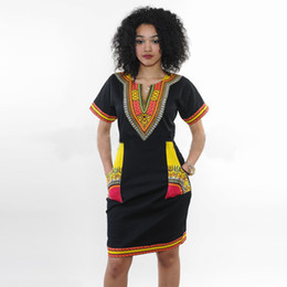 plus size hippie clothing NZ - Wholesale free shipping Summer Sexy African Print Shirt Dresses Femme Vintage Mini Hippie Plus Size Boho Women Casual Clothing