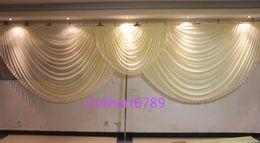 6 m de ancho cenefa blanca swags estilista de la boda diseños telones de fondo del partido Celebración de la Cortina de la etapa Etapa de rendimiento de fondo satinado drapear la pared