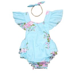 Wholesale Ins Baby Girl Print Flower Rompers Cute Floral Lace Jumpsuits Hollow Back Headband Two Piece Set Toddler Soft Cotton Blue Bodysuits