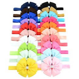 Headbands Bow Australia - Baby Girls Hair Accessories Ribbon Bow Flower for Headband Infant Bowknot Elastic Headbands 20 Colors Kids Fashion Princess Hairbands Headdr