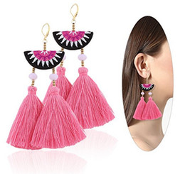 $enCountryForm.capitalKeyWord NZ - Women Ethnic Bohemian Embroidery Earrings Boho Long Wool Tassel Drop Dangle Crystal Handmade Earrings Eardrop 12pairs lot