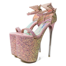 ultra high heels 43 Canada - Ultra High Heels(20cm) with Platform Party Sandals Sexy Sequined Leather Bling Women's Shoes Female Pumps 34-43 Ankle Strap