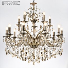 light up pendant 2019 - Modern Luxury Crystal Chandelier Light Fixture Brass Color Pendant Lampara de techo Dining room Living room Lighting MD8