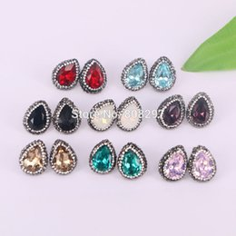 $enCountryForm.capitalKeyWord NZ - Charm 8Pair Mixed Color Pave Rhinestone Zircon Water Drop Shape Crystal Stud Earrings Jewelry Finding