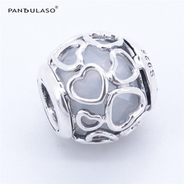 Silver Elements Australia - Pandulaso Encased in Love Opalescent White Crystal charms For Woman Gift Fits Pandora charms Bracelet For Woman Beads DIY Silver 925 Jewelry