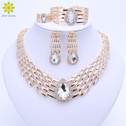 NigeriaN jewelry sets for weddiNg online shopping - African Beads Jewelry Sets For Women Big Choker Nigerian Wedding Fashion Dubai Gold Plated Party Costume Bridal Jewelry