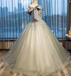big red ball gown dresses 2019 - Princess Ball Gown Quinceanera Dresses With Strapless Big Bow Exposed Boning Appliques Pageant Dress Tulle Back Lace Up
