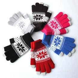 snowflake screen 2019 - Jacquard touch screen gloves snowflake flower maple pattern gloves for women men