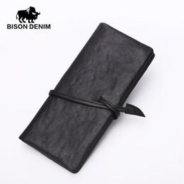 $enCountryForm.capitalKeyWord NZ - Wholesale- BISON DENIM Genuine Leather Guarante Vintage Black Wallet Bag,Long wallet Fashion Dollar Price Long mens wallet and purses N4369