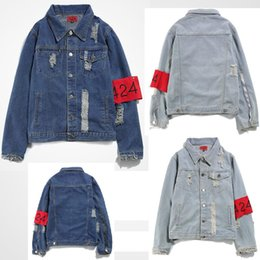 424 denim jacket 2019 - 424 New Euro-America High Street Destroy Washed Distressed Denim Jacket Men Tide Brand Loose Jacket chaqueta hombre chea