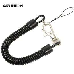 plastic spring keychain Australia - Tactical Retractable Plastic Spring Elastic Rope Security Gear Tool For Airsoft Outdoor Hiking Camping Anti-lost Phone Keychain
