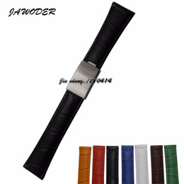 $enCountryForm.capitalKeyWord Canada - JAWODER Watchband 20mm Men Women Brown Green Blue Black Yellow White Red Crocodile Lines Genuine Leather Watch Band Strap for ROL116610LV