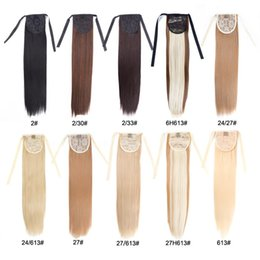 MediuM long straight hair online shopping - Alileader Synthetic Ponytail Long Straight Hair quot quot Clip Ponytail Hair Extension Blonde Brown Ombre Hair Tail With Drawstring
