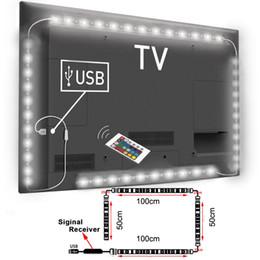 Vente en gros- Changement de couleur USB RGB alimenté par une lampe à bande LED 5050 Ordinateur TV USB Kit de rétro-éclairage Écran TV LCD PC de bureau 2 * 100cm + 2 * 50cm en Solde