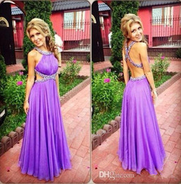 girls dress made diamonds UK - Sexy Style Lavender Prom Dresses 2020 Cross Back Diamonds Beads Chiffon Floor Length Girls Party Gowns Custom Size