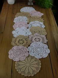 "White Cotton Napkins Australia - Lot of 14 pcs crocheted doilies, 5 Beige 5 White 4 Pink 7""-8""-9"" , hand crochet doily forTable Napkin, crocheted Home Textiles"