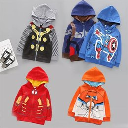 Vestes Élégantes Pas Cher-Hoodies de super-héros élégants pour garçons 2017 Vestes d'automne Impression Captain America Sweatshirts Cartoon Movie Theme Hoodie pour enfants Outwear