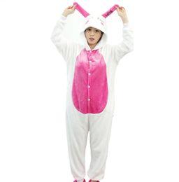 Woman Winter Costumes Pajamas UK - Cute Winter Pajamas Women Love Rabbit Animal Sleep Home Wear Two Long Ears Pyjama Set Female Mujer Flannel Pijamas