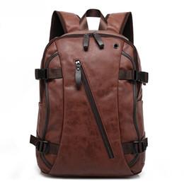 Sas Laptop Australia - Wholesale- 2016 Brand Designer Men Leather Backpack Male Back Pack Bag Youth Bagpack Men's Backbag Laptop Backpack Black Rucksack Sas a Dos