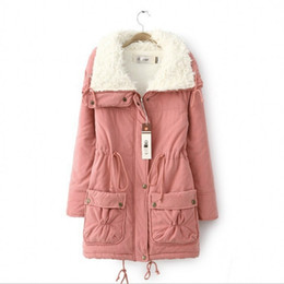 Wholesale lamb cotton wool resale online - 2016 South Korean Style Winter Latest Fashion Women Coat Elegant Pure color Thick Cotton padded Clothes Lambs Wool Big yards Coat