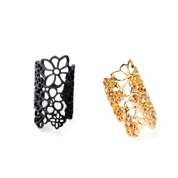 Wholesale Bohemia Brand tella Jewelry hollow lace flower Dot Ring Gold Plated Filigree Floret rings for women lady