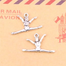 $enCountryForm.capitalKeyWord NZ - 93pcs Tibetan Silver Plated gymnastics gymnast sporter Charms Pendants for Jewelry Making DIY Handmade Craft 22*16mm