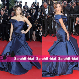 Discount cannes film dresses - Eva Longoria Cannes Film Festival 2019 Celebrity 12y NAVY blue one shoulder Fashion Couture Designer Style Cheap Evening