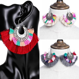 exotic earrings 2019 - Colorful Bohemia style multi-layer Big tassel earrings Retro exotic Statement dangle Earrings for Women Ethnic Jewelry D