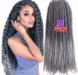 3d Hair Canada - Free Shipping HIGH QUALITY 3D Cubic Twist Crochet Braids Ombre Grey Color Mambo Senegalese Twist synthetic hair Hair Extensions