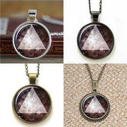 hipsters glasses 2019 - 10pcs galaxy Triangle Hipster Universe Jewelry ASD4 glass Necklace keyring bookmark cufflink earring bracelet cheap hips
